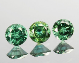 0.14 Cts Natural Diamond Rich Green 2.1mm Round 3Pcs Africa