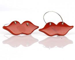 Natural Red River Jasper fashion woman Irregular shaped Earrings, Women's P