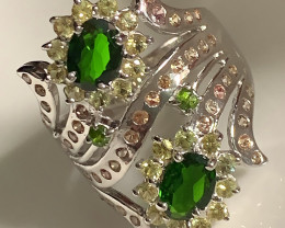 For Hugh...Sparkling Sapphire Chrome Diopside Sterling Silver Ring Size 9