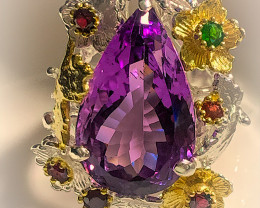 A MAGNIFICENT Amethyst Diopside Garnet Ring Size 8