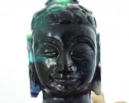 Genuine 2135.00 Cts Multicolor Fluorite Carved Buddha Head