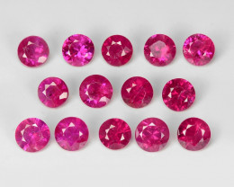 2.09 Cts 14pcs 3.0 MM Round Natural Pigeon Blood Red Ruby BURMA Gemstone