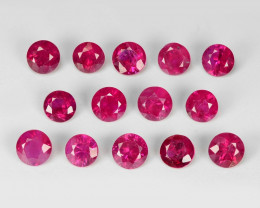 2.00 Cts 14pcs 3. mm Round Natural Pigeon Blood Red Ruby BURMA Gemstone