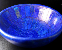 1830 CT Unheated ~ Natural Blue  color Lapis Carved Bowl Special Shape