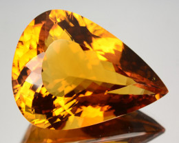 58.44 Cts Unheated Natural AAA Golden Orange Citrine Pear Cut Brazil