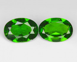1.25 Cts 2pcs Natural Green Color Chrome Diopside Loose Gemstone