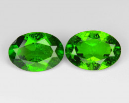 1.36 Cts 2pcs Natural Green Color Chrome Diopside Loose Gemstone