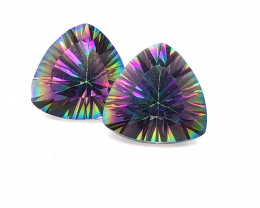 Pair Mystic Quartz Gemstone Trillion Cut OMR 391
