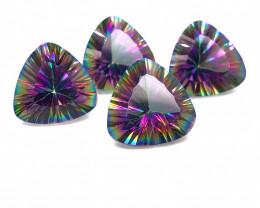 Four  Mystic Quartz Gemstone Trillion Cut OMR 405