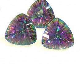 Three   Mystic Quartz Gemstone Trillion Cut OMR 412