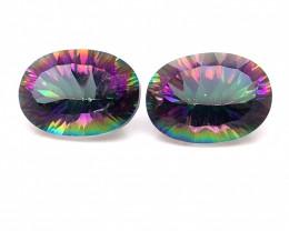 Pair Mystic Quartz Gemstone Oval  Cut OMR 423