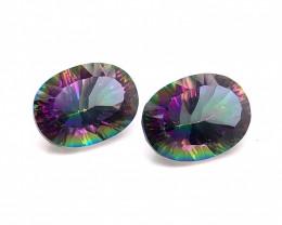 Pair Mystic Quartz Gemstone Oval  Cut OMR 424