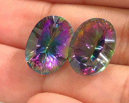 Pair Mystic Quartz Gemstone Oval  Cut OMR 425