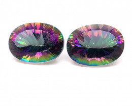 Pair Mystic Quartz Gemstone Oval  Cut OMR 427