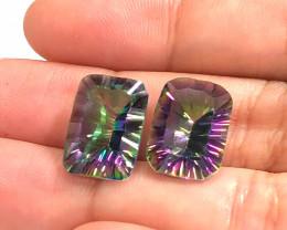 Pair Mystic Quartz Gemstone Cushion  Cut OMR 453