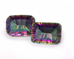 Pair Mystic Quartz Gemstone Cushion  Cut OMR 455