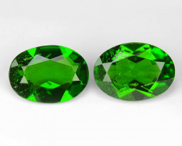 1.61 Cts 2pcs Natural Green Color Chrome Diopside Loose Gemstone