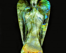Genuine 1530.00 Cts Amazing Flash Labradorite Healing Angel