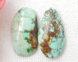 Green Turquoise ,Handmade Gemstone ,Turquoise Cabochon Pair ,Lucky Stone E4