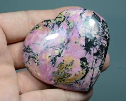 837 Ct Polished Heart Shape Rhodonite From Pakistan
