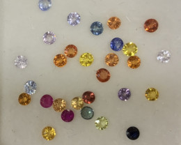 Multi Sapphire Lot Round Brilliant Cut 2.3mm(SKU 57)