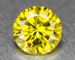 0.39  Cts Sparkling Fancy Vivid Yellow Natural Loose Diamond -Si1