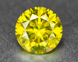 0.37  Cts Sparkling Fancy Vivid Yellow Natural Loose Diamond -Si1