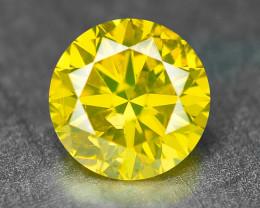 0.33  Cts Sparkling Fancy Vivid Yellow Natural Loose Diamond -Si1