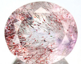 10.73 Cts Natural Strawberry Quartz intense Red Dot Oval Cut Brazil