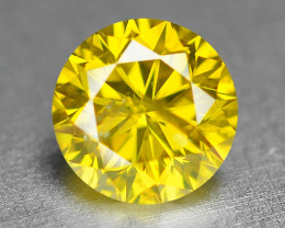 0.38 Ct Sparkling Fancy Vivid Yellow Natural Loose Diamond -SI1