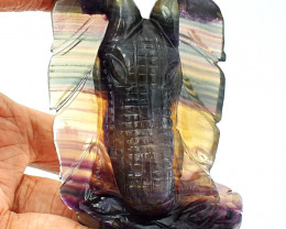 Genuine 635.00 Cts Multicolor Fluorite Carved Elephant Head