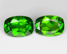 1.63 Cts 2pcs Natural Green Color Chrome Diopside Loose Gemstone