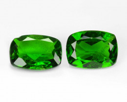 1.54 Cts 2pcs Natural Green Color Chrome Diopside Gemstone
