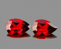 9x6 mm Pear 2 pcs 3.08cts Red Garnet [VVS]