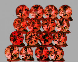 3.50 mm Round 16 pcs 3.80 cts Orange Red Garnet [VVS]