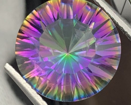"""""""NR"""" 9.45 Carats 15 mm Round Natural Mystic Quartz Master Cut"""