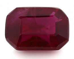 1.10 Carat Emerald Cut Ruby: Deep Rich Red