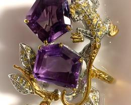 Artisan Lizard Amethyst Sapphire Brooch - Sterling Silver Gold
