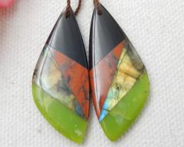 Serpentine,Obsidian,Red River Jasper,Labradorite Intarsia Earring E520
