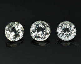 ~UNHEATED~ 5.00 Cts Natural Sparkling White Topaz 3Pcs Round Cut Brazil