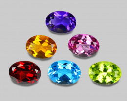 8.50  Cts  6Pcs 6 Colors 8 x6 MM Calibrated Genuine Gemstones Collection