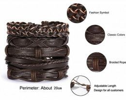 Men Bracelets Set  Leather Wrap Braided Wristband Cuff Bangle