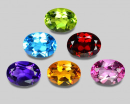8.31 Cts  6Pcs 6Colors 8 x6 MM Calibrated Genuine Gemstones Collection