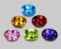 8.22 Cts  6Pcs 6Colors 8 x6 MM Calibrated Genuine Gemstones Collection