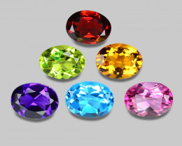 7.98 Cts  6Pcs 6Colors 8 x6 MM Calibrated Genuine Gemstones Collection