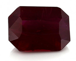 0.81 Carat Emerald Cut Ruby: Deep Rich Red