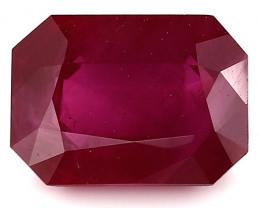 1.34 Carat Emerald Cut Ruby: Deep Rich Red