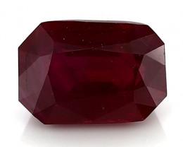 1.26 Carat Emerald Cut Ruby: Rich Pigeon Blood Red