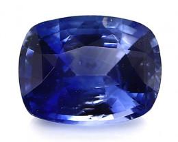 1.47 Carat Cushion Cut Blue Sapphire: Deep Rich Blue