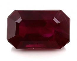 1.02 Carat Emerald Cut Ruby: Deep Rich Red